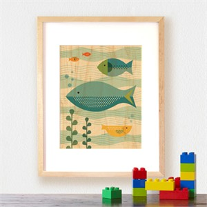 Petit Collage Prints on Wood Fish Baby 11 x 14
