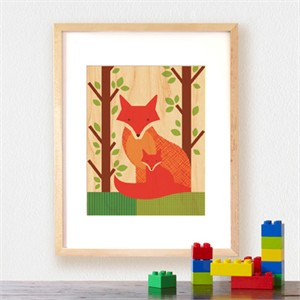 Petit Collage Prints on Wood Fox Baby 11 x 14