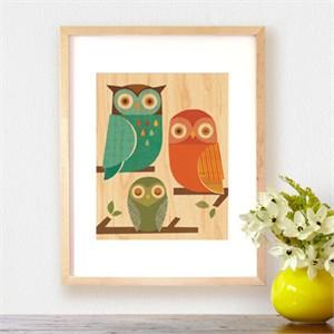 Petit Collage Prints on Wood Owl Trio 11 x 14