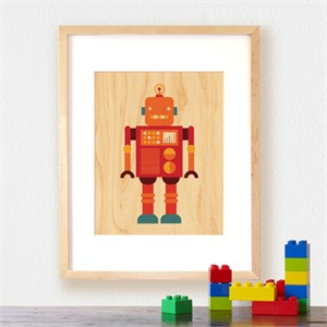 Petit Collage Prints on Wood Red Robot 11 x 14