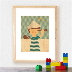 Petit Collage Prints on Wood Sailor Boy 11 x 14