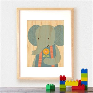 Petit Collage Prints on Wood Sweet Elephant 11 x 14