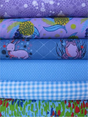 Penguin & Fish, Picnic Pals, Organic, Blueberry in FAT QUARTERS, 6 Total