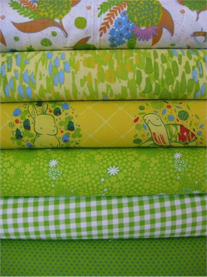 Penguin & Fish, Picnic Pals, Organic, Citrus in FAT QUARTERS, 6 Total