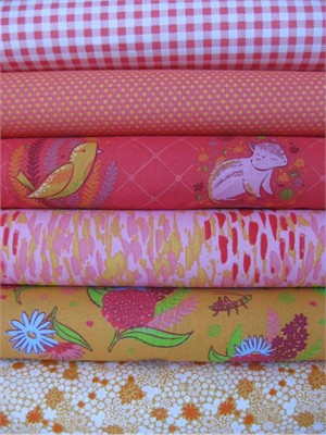 Penguin & Fish, Picnic Pals, Organic, Strawberry in FAT QUARTERS, 6 Total (Last Bundle)