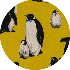 Japanese Import, CANVAS, Pensive Penguins Mustard