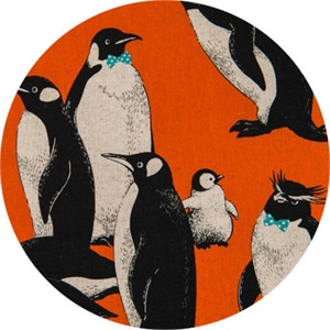 Japanese Import, CANVAS, Pensive Penguins Orange