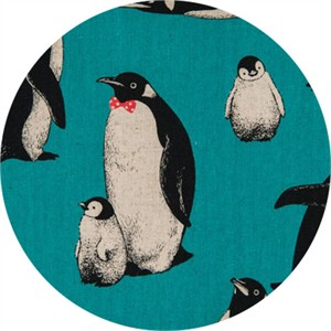 Japanese Import, CANVAS, Pensive Penguins Turquoise