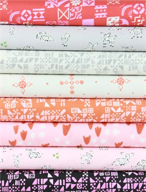 Alexia Marcelle Abegg for Cotton and Steel, Clover, Petite Persimmon in FAT QUARTERS 7 Total