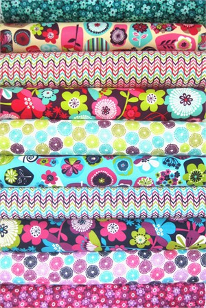 Pink Light for Robert Kaufman, FLANNEL, Punch Garden in FAT QUARTERS 10 Total