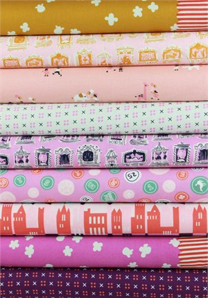 Kimberly Kight for Cotton and Steel, Penny Arcade, Pink Penny in FAT QUARTERS 9 Total