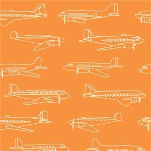 Jay-Cyn Designs for Birch Organic Fabrics, Trans-Pacific, Planes Orange