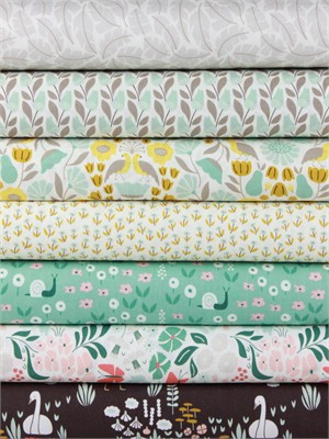 Elizabeth Olwen for Cloud9, ORGANIC, Park Life, Pond in FAT QUARTERS 7 Total
