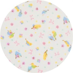 Cosmo Textiles, DOUBLE GAUZE, Pretty Parakeet White