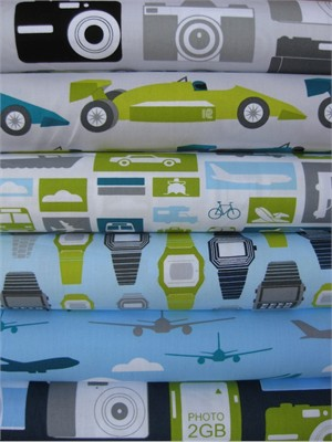 Print & Pattern, Boys Toys, Sky in FAT QUARTERS 6 Total