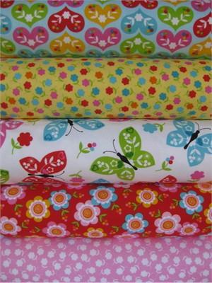 Print & Pattern, Ella FLANNEL, Bright in FAT QUARTERS 5 Total