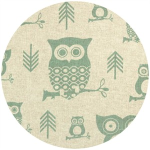 Premier Prints, HOME DEC,  Hooty Eaton Blue/Linen