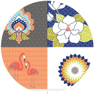 The Quilted Fish, Lula Magnolia, Lula Panel Orange (1 Yard Panel)