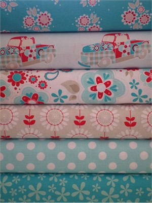 The Quilted Fish, Twice as Nice, Blue in FAT QUARTERS 6 Total