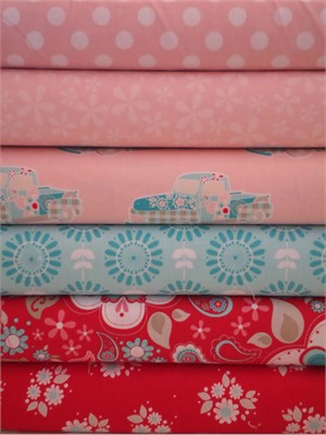 The Quilted Fish, Twice as Nice, Pink in FAT QUARTERS 6 Total