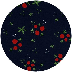 Cotton and Steel, Tinsel, Winter Pomegranates Navy
