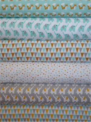 Rae Hoekstra, Fanfare FLANNEL, Blue in FAT QUARTERS 6 Total