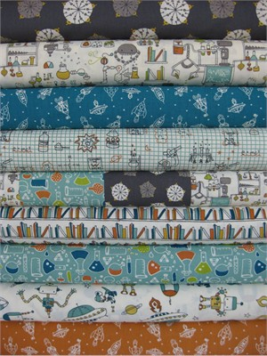 Rebekah Ginda for Birch Organic Fabrics, Robotic, Entire Collection in FAT QUARTERS 9 Total (Pre-cut)