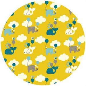 Rebekah Ginda for Birch Organic Fabrics, Frolic, Up Up and Away Citron