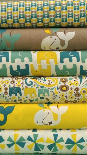 Rebekah Ginda for Birch Organic Fabrics, Frolic, Boy 5 FAT QUARTERS in Total