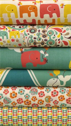 Rebekah Ginda for Birch Organic Fabrics, Frolic, Girl in FAT QUARTERS 5 Total