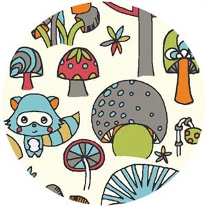 Rebekah Ginda for Birch Organic Fabrics, Picnic Whimsy, KNIT, Mushroom Forest