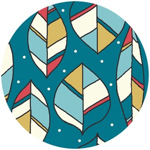 Rebekah Ginda for Birch Organic Fabrics, Picnic Whimsy, KNIT, Leaves Teal