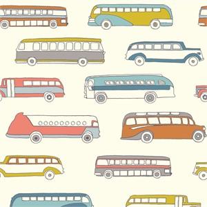 Jay-Cyn Designs for Birch Organic Fabrics, Trans-Pacific, Retro Bus