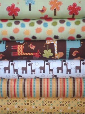 Riley Blake, Giraffe Crossing, Brown in FAT QUARTERS 6 Total