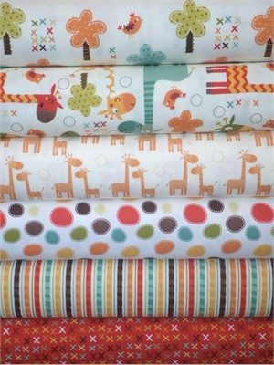Riley Blake, Giraffe Crossing, Cream in FAT QUARTERS 6 Total