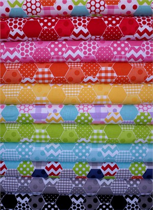 Riley Blake, Hexi Print in FAT QUARTERS 9 Total