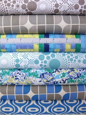 Riley Blake, Hipsters, Blue in FAT QUARTERS, 7 Total