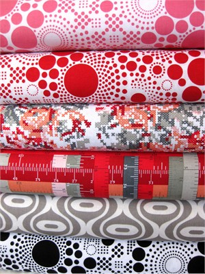 Riley Blake, Hipsters, Red in FAT QUARTERS, 6 Total