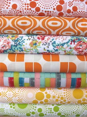 Riley Blake, Hipsters, Teal in FAT QUARTERS, 7 Total