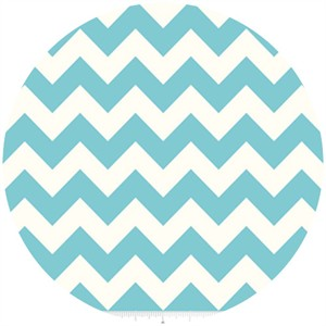 Riley Blake, Le Creme, Medium Chevron On Cream, Aqua