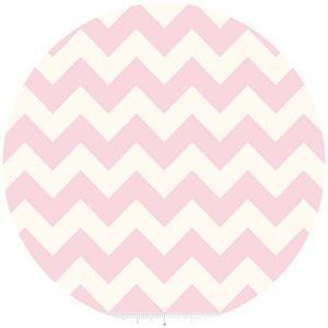 Riley Blake, Le Creme, Medium Chevron On Cream, Baby Pink