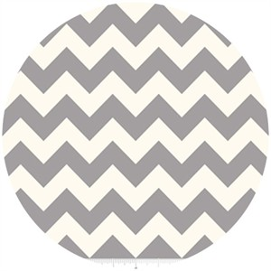 Riley Blake, Le Creme, Medium Chevron On Cream, Gray