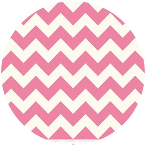 Riley Blake, Le Creme, Medium Chevron On Cream, Hot Pink