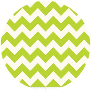 Riley Blake, Le Creme, Medium Chevron On Cream, Lime