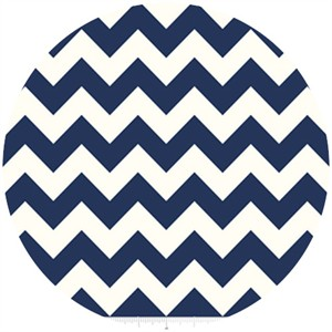Riley Blake, Le Creme, Medium Chevron On Cream, Navy
