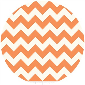 Riley Blake, Le Creme, Medium Chevron On Cream, Orange