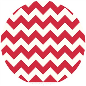 Riley Blake, Le Creme, Medium Chevron On Cream, Red