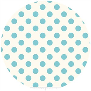 Riley Blake, Le Creme, Medium Dot On Cream, Aqua