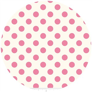 Riley Blake, Le Creme, Medium Dot On Cream, Hot Pink