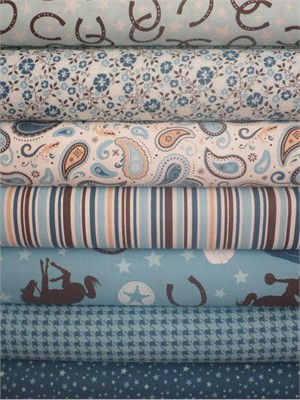 Riley Blake, Roundup!, Blue in FAT QUARTERS 5 Total (PRE-CUT)